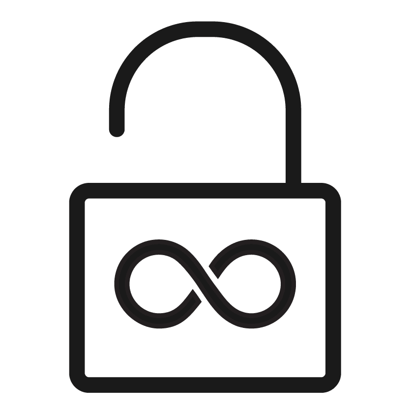 icon of a pad-lock with an infinity symbol on it
