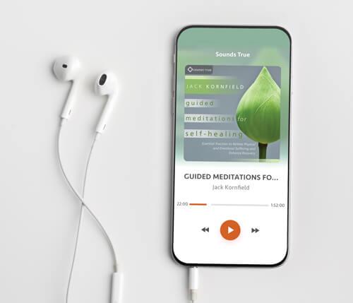 phone headphones playing jack kornfield meditation