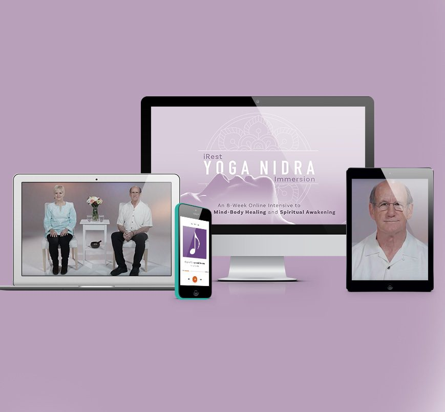 Different digital devices featuring the Yoga NIdra Course