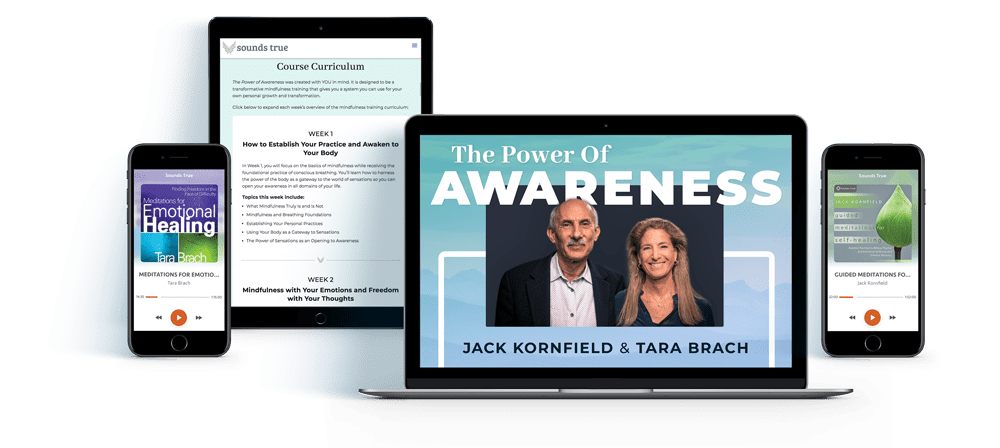 computer, tablet and phone showcasing elements of the Power of Awareness course