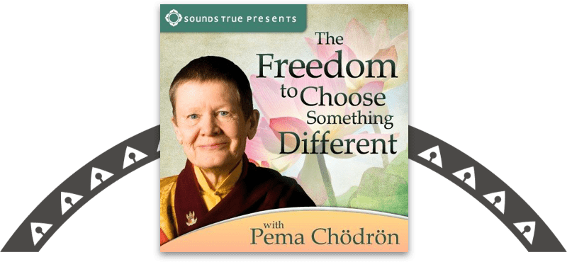Cover of Pema Chӧdrӧn's The Freedom to Choose Something Different online course, placed on top of a decorative motif.
