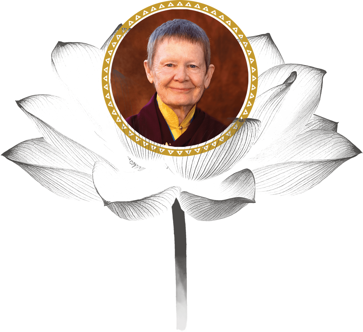 A smiling headshot of Pema Chödrön, placed inside of a decorative circular border with a black-and-white lotus flower in the background.